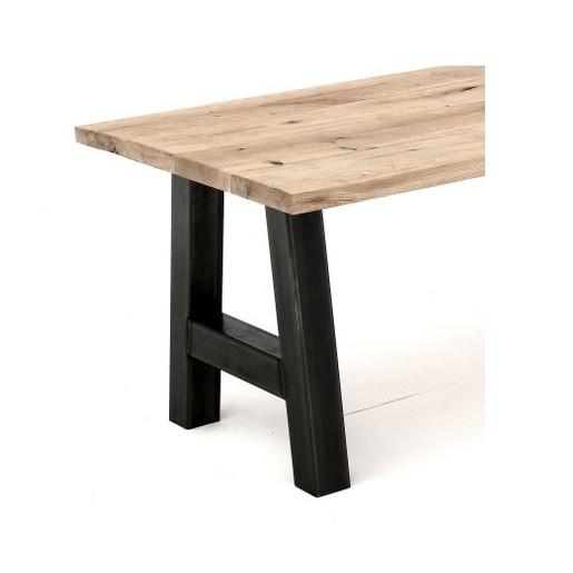 Eiken tafel met balkenblad geborsteld onderstel stalen a for Tafel schuren en olien